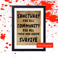 AMC's The Walking Dead TERMINUS Map Vintage Design Zombie Apocalypse Poster Sanctuary For All Community For All Those Who Arrive Survive