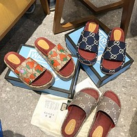 GG stitching color embroidery letters ladies platform slippers sandals Shoes