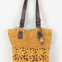 Cute Raffia Paper Purse Sunflower Yellow Womens Crochet Boho Style Shoulder Handbag