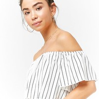 Pinstriped Off-the-Shoulder Crop Top