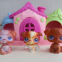 Retired Rare Littlest Pet Shop Three Dog Set with Dog House and Treat Center