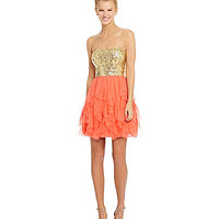 B. Darlin Sequin Corkscrew Party Dress - Bright Coral/Gold