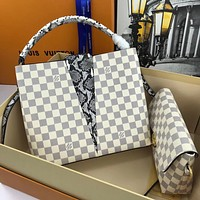 LV simple classic checkerboard snake pattern handbag two-piece set