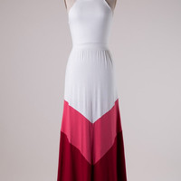 Halter Maxi Dress - White and Pink