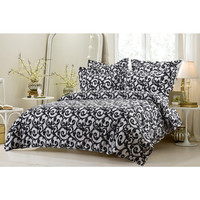6pc Black and White Swirl Design Bedding Set-Includes Comforter and Duvet Cover