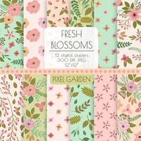 Floral Digital Paper. Cottage Chic Scrapbooking Paper. Hand Drawn Peony, Rose Blossom Pattern. Mint, Pink, Peach Tropical Flower Background