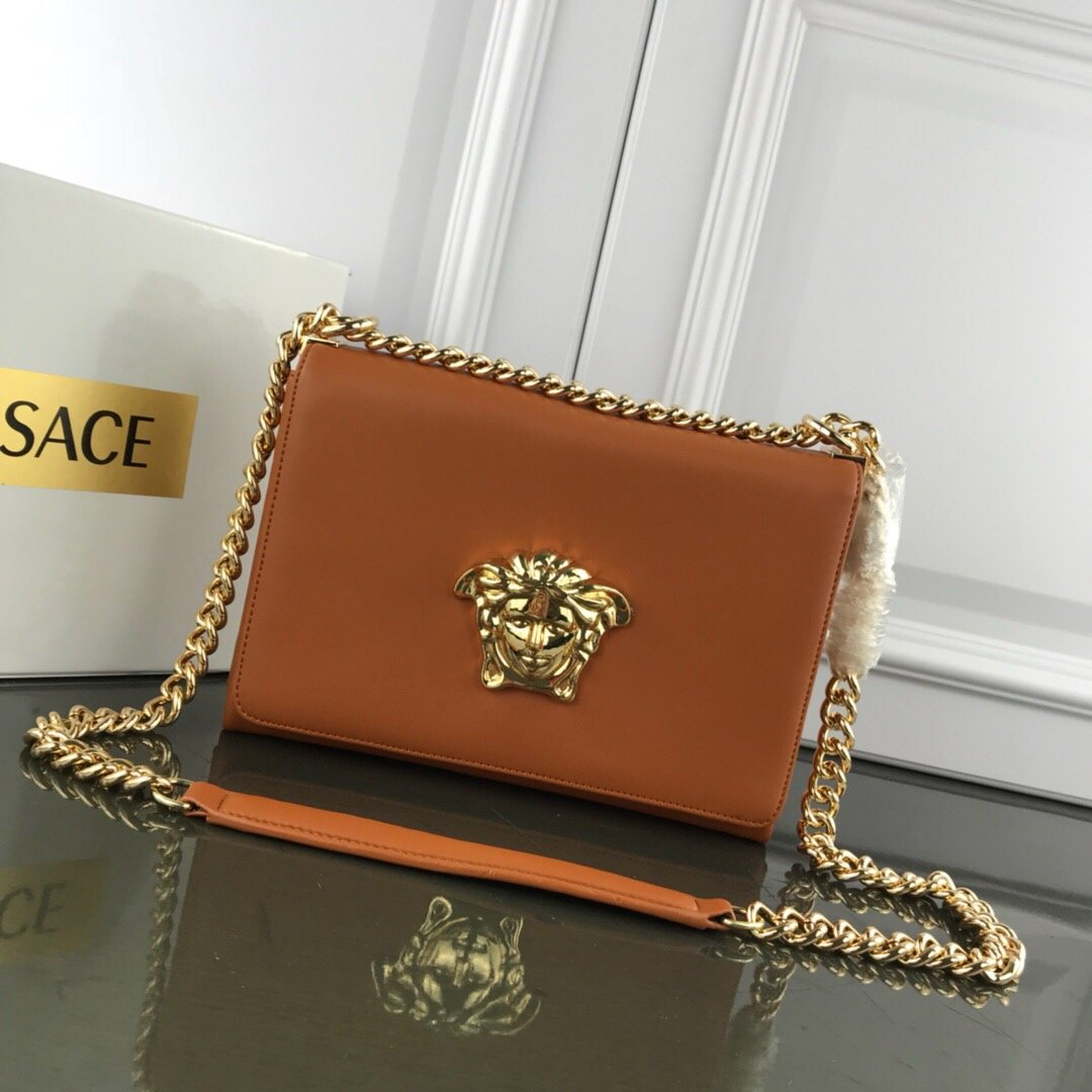 Image of VERSACE WOMEN'S LEATHER INCLINED CHAIN SHOULDER BAG