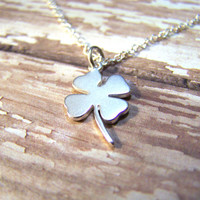 Dainty St Patricks Four Leaf Clover Shamrock Sterling Silver Necklace / Gift for Her