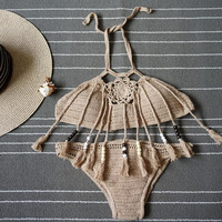 Fashion knit Khaki shell tassel halter two piece bikini (3 color)
