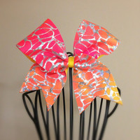 Pink & Yellow Tie Dye Cheer Bow by MeSuesGifts on Etsy