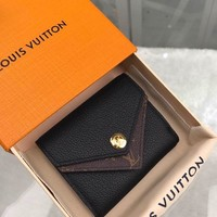 Kuyou Gb1986 Louis Vuitton Lv M64420 Monogram Taurillon Black Leather Wallets Double V Compact Wallet  10x9cm