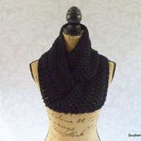 Christmas In July Sale Ready To Ship Infinity Scarf Black Women's Accessory Infinity Scarf