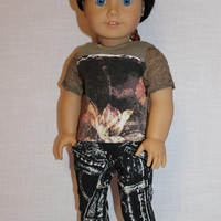 abstract print  t-shirt with lace sleeves and black and white skinny jeans, 18 inch doll clothes american girl maplelea