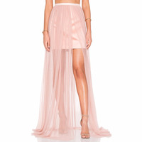 Sheer Pink Long Maxi Skirt Zipper Waistline A Line Floor Length Tulle Skirt With Short Lining Summer Sexy Slit Skirts Women