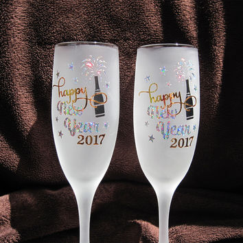 Happy New Year Glasses | Frosted Toasting Flutes