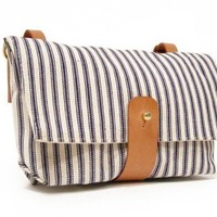 Handlebar Bag in Blue and White Striped Ticking by DNTX on Etsy