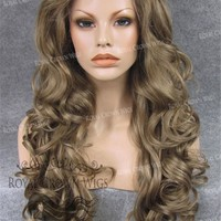 "26 inch Heat Safe Synthetic Lace Front in Curly Texture ""Calypso"" in Dark Blonde Mix"