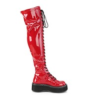 Emily 375 Goth Red Patent Lace Up Thigh High Boots Flat-forms  6-12