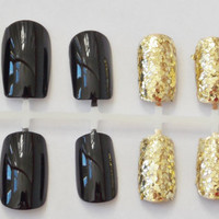 Black and Gold Glitter Fake Nails - False, Artificial, Acrylic, Press-On