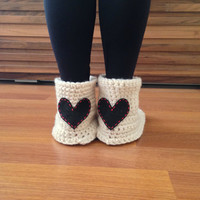 Crochet Slipper Boots Women House Socks Crochet Slippers with Heart Valentines Day Gift Wool Slippers Socks Indoor Shoes