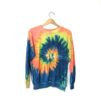 Vintage tie dyed sweatshirt. 80s tie dye sweater. thin cotton sweatshirt. grunge hippie hipster.
