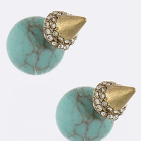 Orb & Cone Double-Sided Earrings (Turquoise)