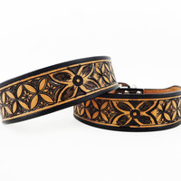 """""""Vintage Diamonds"""" Limited Edition Genuine Leather Dog Collar by Madcow"""