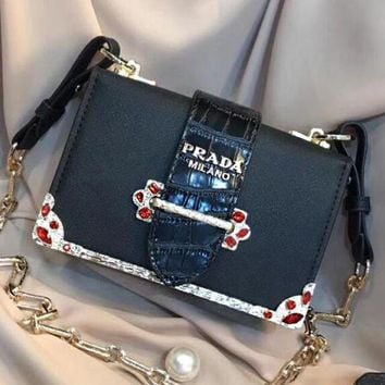 Prada Floral Belt Buckle plain color wrist bag zipper lady