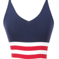 Stripe Knitted crop tank top