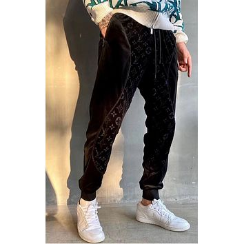 LV Louis Vuitton Monogram  Print Women Men High Quality Velvet Pants Black