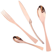 18/10 Stainless Steel Cutlery Rose Gold Flatware Set Dinner Forks Knives Spoons Set Tableware Set Gift for Mum