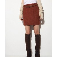 Solid Woolen Red Short Skirt   style Skirt024 in