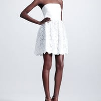 Valentino Leather-Top Lace-Skirt Dress, Ivory