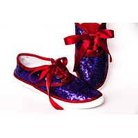 Purple Starlight Sequins Over Red Sneakers