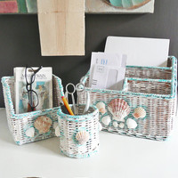 CLEARANCE - Beachy Shell Desk Set - 3 hand painted wicker organizers