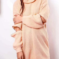 Pink High Roll Neck Zipper Detail Oversized Sweater Dress