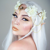 Gold and Ivory Elven crown - wedding headpiece