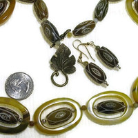 Pupa Bead Necklace Featuring Beads Cradling Beads-Olive Green Agate