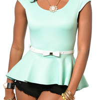 Mint Trendy Classy Cap Sleeve Knit Peplum Top with Belt