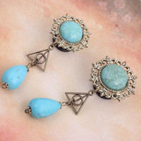 Steel SINGLE FLARE Flesh Tunnel Ear Plug With O-Ring  triangle with blue Turquoise dangle piercing plugs tunnel gauges