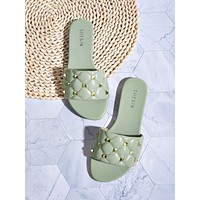 Studded Decor Quilted Slide Sandals