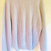 Vintage 1990's Chunky Knit Textured Periwinkle Blue Fisherman Sweater Sz L Tall