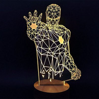 Protect 3d Glow LED Lamp - Kids Room Art Sculpture Lights Produces Unique Lighting Effects and 3d Visualization - Amazing Optical Illusion (Iron Man)