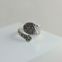 Vintage Spoon Ring - Sterling Floral Spoon Ring - Alvin Sterling Ring Size 8 - Wedding Flowers Ring