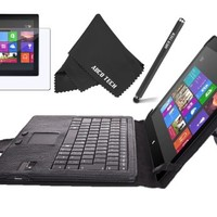 Abco Tech Protect your Microsoft Surface RT 4-item Bundle - Includes: Bluetooth Keyboard Cover Case for Microsoft Surface RT - Surface Pro - Surface 2 - Surface Pro 2 10.6 inch HD Windows 8 - RT Tablet Black, Stylus, Screen Protector and Fiber Cloths