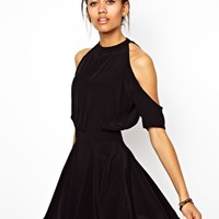 Motel Sarina Skater Dress With Cut Out