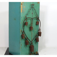 Vintage Wind Chime with Eight Rusty Bells . Heart Shaped . Rustic Porch  Patio Decor