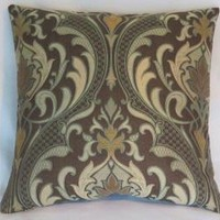 Brown and Aqua Brocade Pillow Cover, Art Nouveau, Mission Style Decor