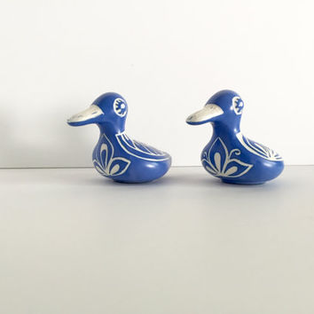 70% off Mid century Pablo Zabal Chile Chilean Handcrafted Pottery Duck Blue White Ceramic Imperfect items