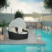 Siesta Canopy Outdoor Patio Daybed Espresso White EEI-642-EXP-WHI